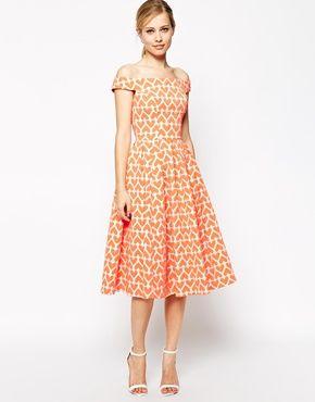 ASOS Heart Print Jacquard Prom Dress