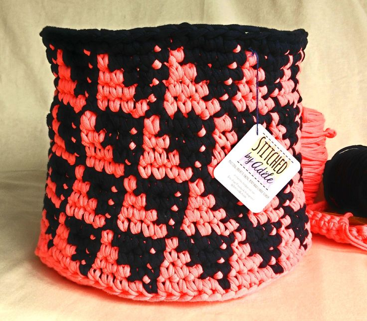 Pink and navy fluorescent crochet basket, neon toy storage basket, eco-friendly, recycled fabric, geometric pattern, crochet storage bin by StitchedByAdele on Etsy