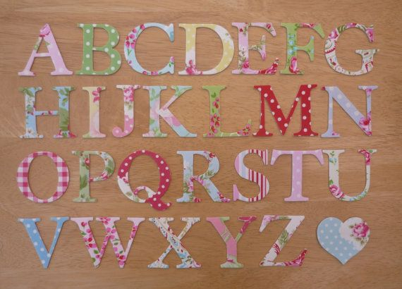 9 Shabby Chic Two inch Iron on Fabric Letters by craisymissdaisy, £6.75
