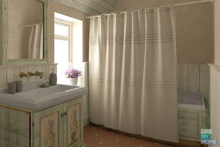 WESS Country - занавеска для ванной комнаты из ткани на завязках 200x180 см. Цена 2700р. Посмотреть на сайте: http://likemyhome.ru/catalog/shtorki-karnizy-kolca/00003155 #likemyhome #showercurtain #bathroomdecor #interiorstyle #wess #country
