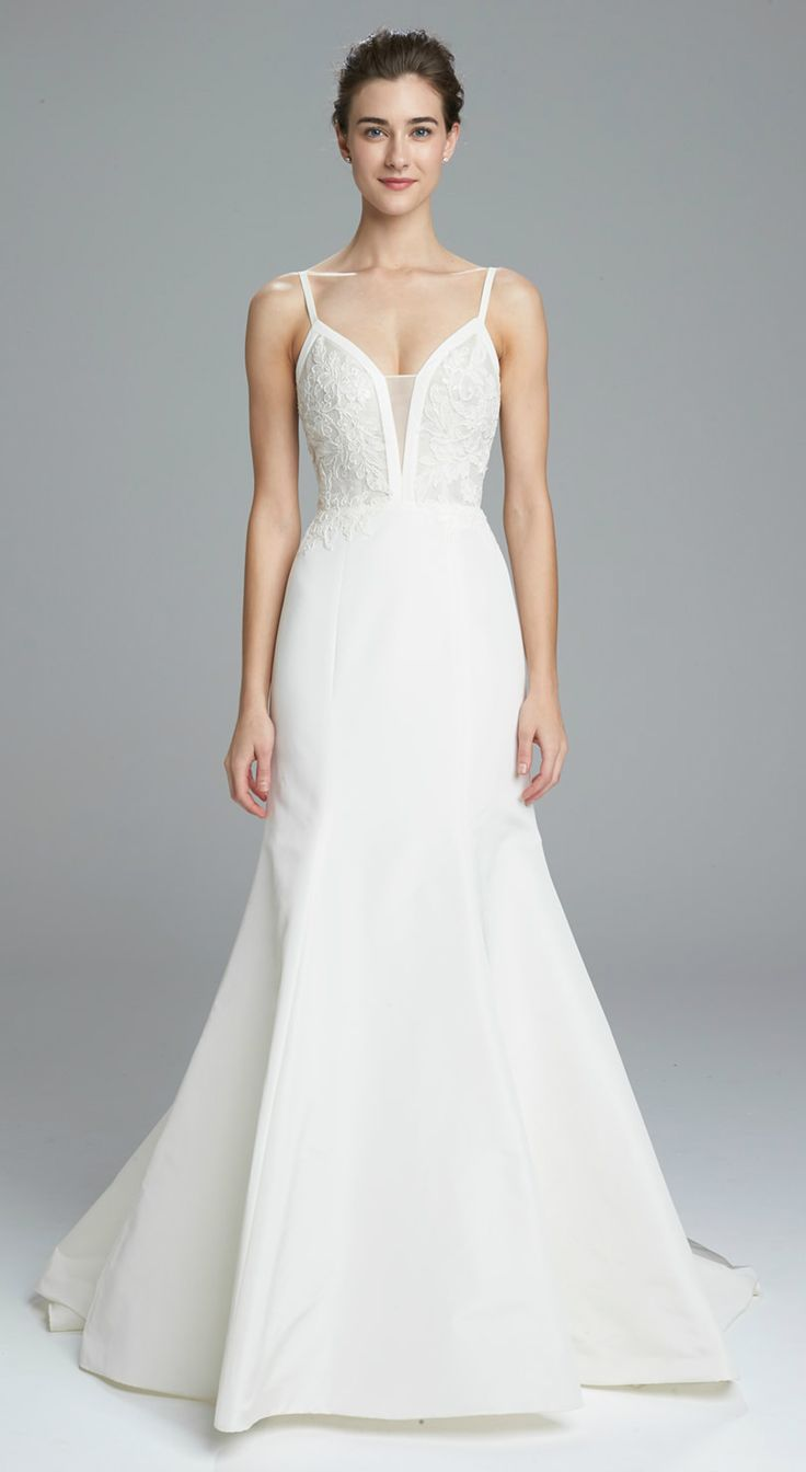 Fit and flare wedding dress with lace bodice, plung neckline and spaghetti straps | 'Britt', an Amsale Wedding Dress #designerweddingdresses