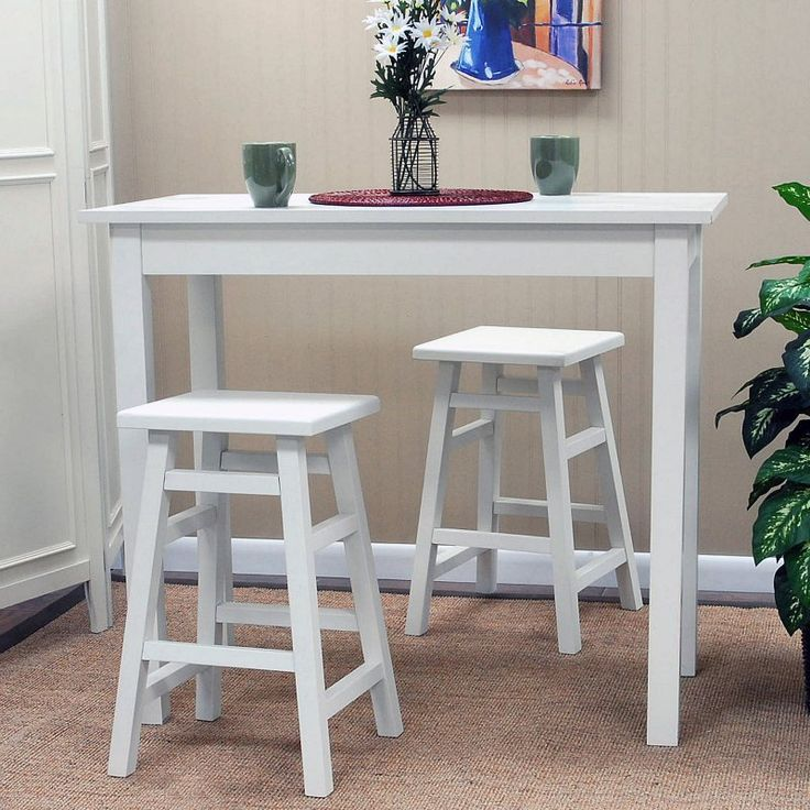 carolina tavern 3 piece white pub table set with tavern white backless stools