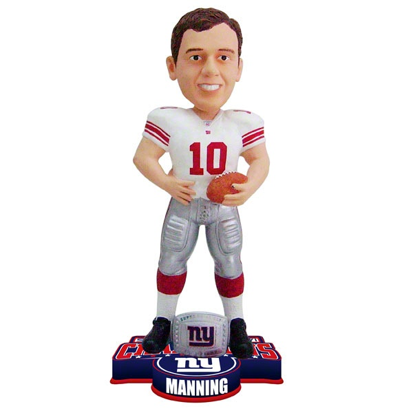 $24.99 from FansEdge - Eli Manning #10 New York Giants Super Bowl XLVI Champions Ring Bobble Head - Always a conversation piece, this bobble head features vibrant team colors and is fun way to boast about your team's accomplishments. http://www.fansedge.com/Eli-Manning-10-New-York-Giants-Super-Bowl-XLVI-Champions-Ring-Bobble-Head-_1491067998_PD.html?social=pinterest_020712_superbowl