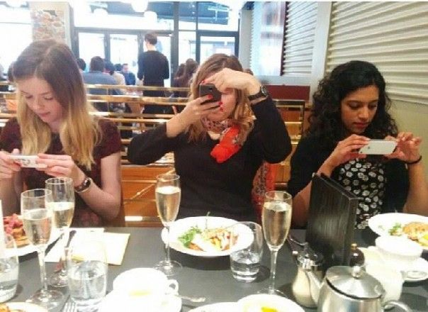 18. Who needs to talk when out at dinner?