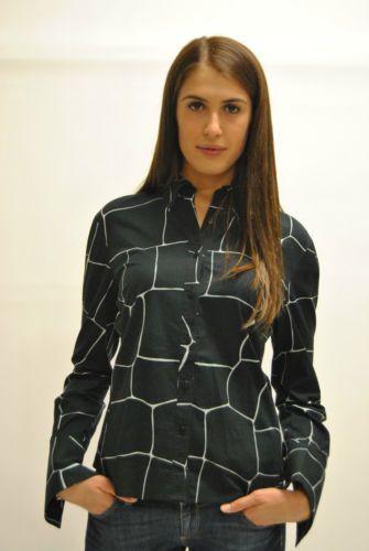 Camicia-da-donna-nera-con-stampa-a-mattoni-Manica-lunga-Originale-Miu-Miu