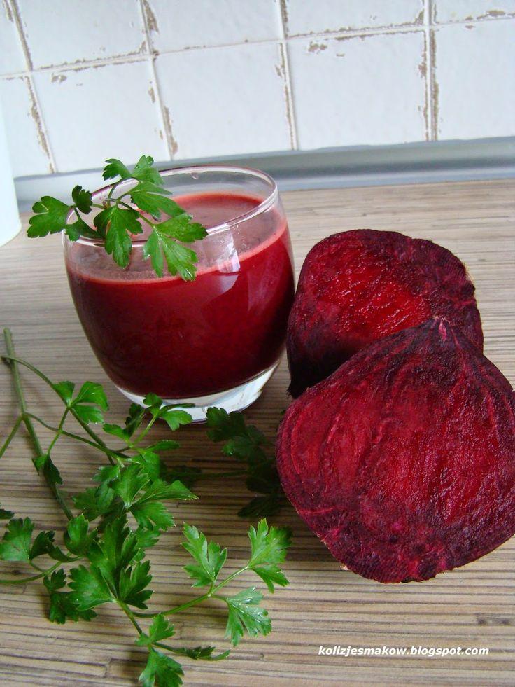 Świeży pyszny sok z buraka, marchewki, jabłka i natki pietruszki. Przepis an blogu!
