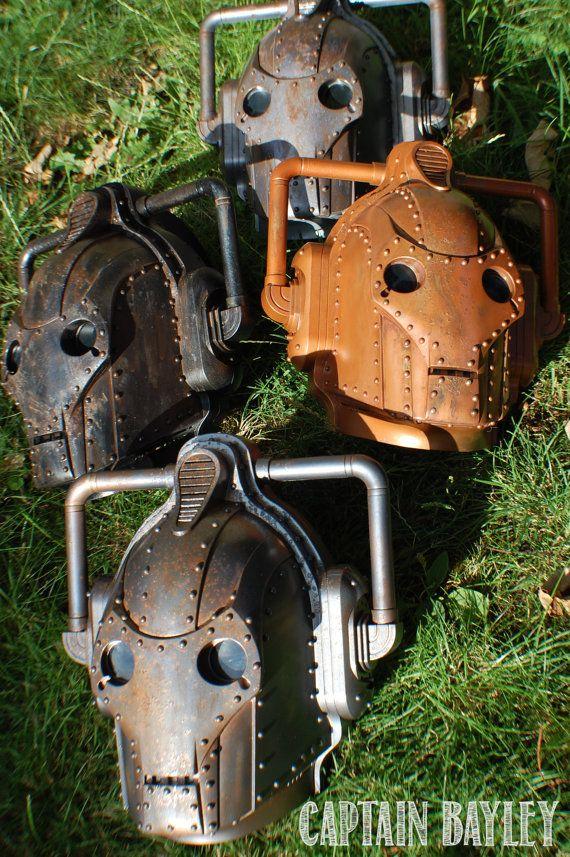 Steampunk/ Dieselpunk Cyberman Mask Steel finish by CaptainBayley, £80.00