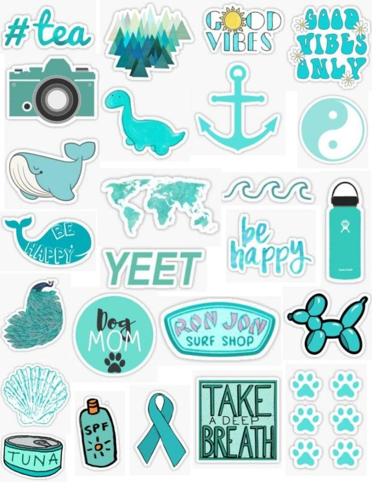 Turquoise Sticker Pack Stickers Blue Aquamarine Aqua Green Ron Jon Surf Shop Dog Prints Yeet