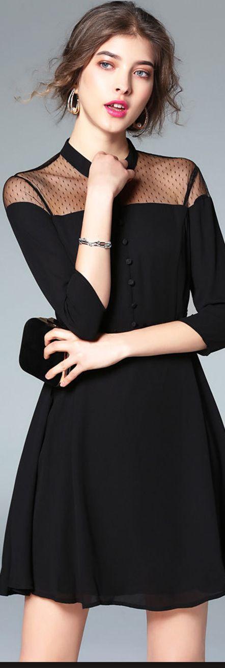 Black 3/4 Sleeveless Illusion Dress