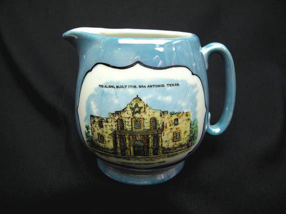 Vintage Texas Centennial 1836 Porcelain Blue Lusterware Cream Pitcher The Alamo Built 1718 San Antonio Texas Made In Japan Collectible