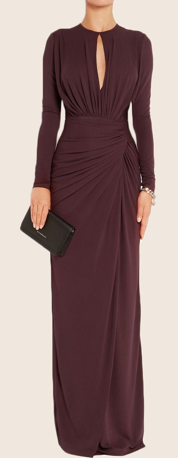 Sheath Long Sleeves Jersey Maxi