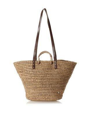 52% OFF Florabella Women's Campello Crochet Raffia and Leather Tote, Cement