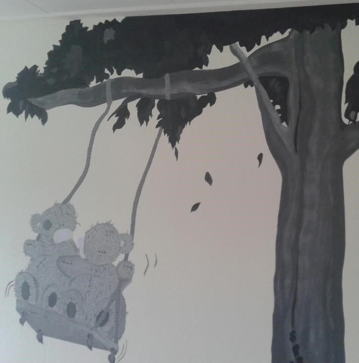 me to you bears,swing, mural, muurschildering, Project K,