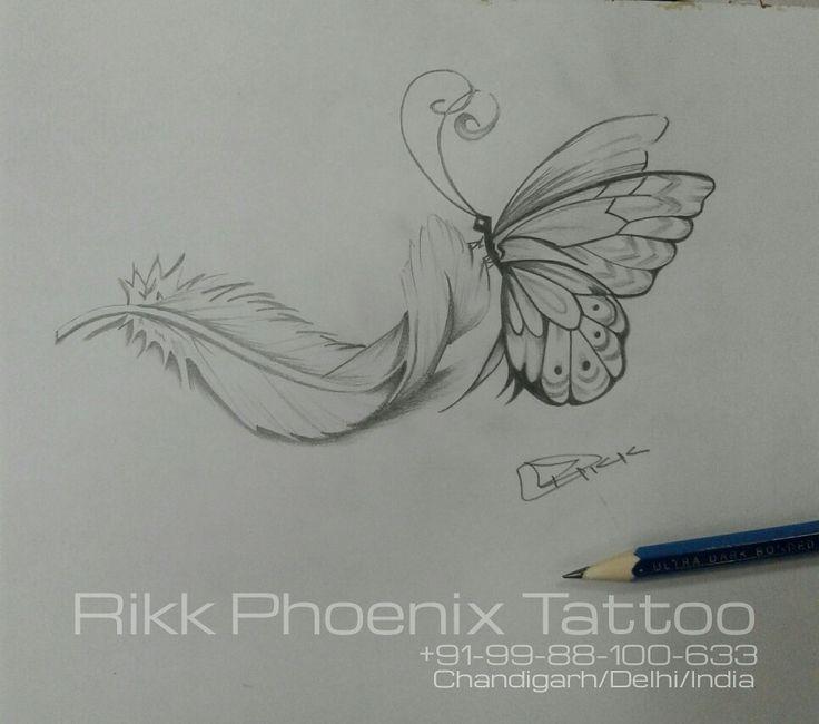 #feather #butterfly #tattoo #design #pencil #shading #work #art #creativity #rikkphoenixtattoo