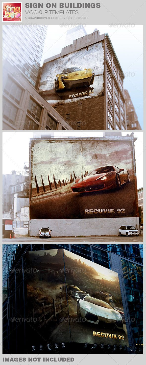 Sign on Buildings Mockup Templates :  Check out this great #graphicriver item 'Sign on Buildings Mockup Templates' http://graphicriver.net/item/sign-on-buildings-mockup-templates/7725044?ref=25EGY