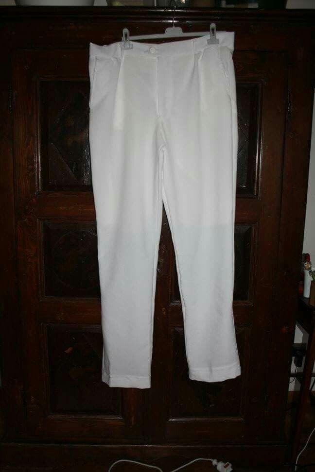 Costumi per spettacolo teatrale, Oscar Wilde, pantaloni uomo bianchi.
