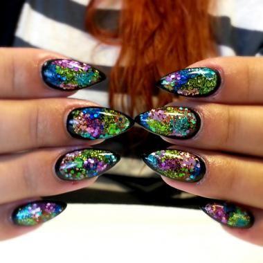 Nail Art How To, Nail Designs, Nail Tutorial, Black Glitter Nails, Light Elegance | NAILPRO
