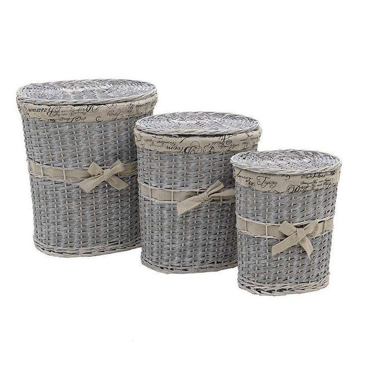 Laundry Basket Set Of 3 Pieces - inart