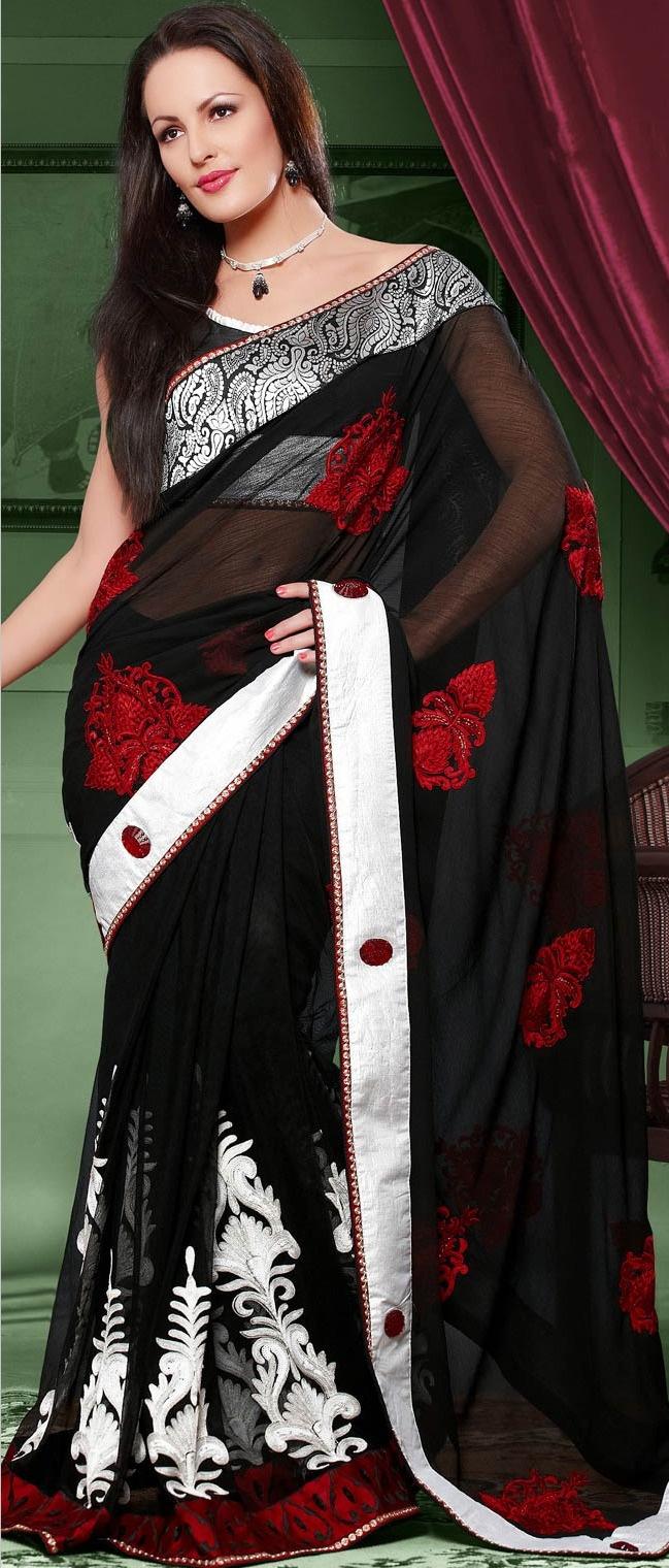 #Black Chiffon #Saree with #Blouse @ $98.14