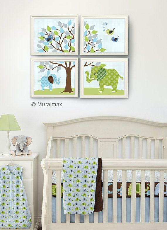 Elephant Nursery Blue and Green ,Baby Boy Room, Nursery print, Baby elephant, 4 prints 8x10, Match Skip Hop Elephant Parade Nursery Bedding