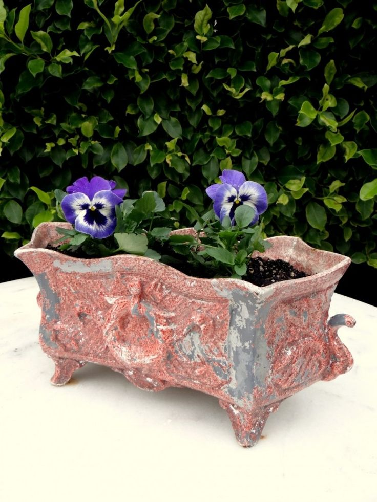 Antique cast iron jardiniere with remnants of old paint. All planted with pansies and ready to grace your garden table