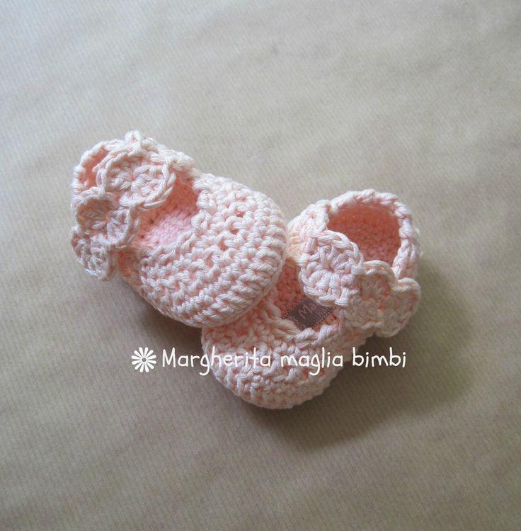 Scarpine ballerine in puro cotone rosa pesca con fascetta, fatte a mano, by Margherita maglia bimbi, 19,50 € su misshobby.com