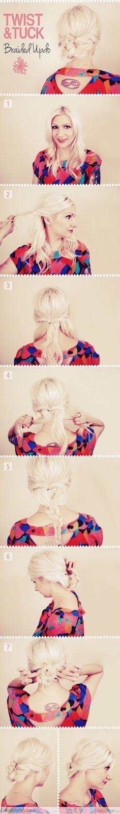 Make A Twist And Tuck Braided Updo For Hair   hairstyles tutorial