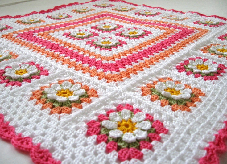MADE TO ORDER Handmade Crochet 100 % Cotton Baby Girl First Flower nursery blanket  / afghan granny squares 25 by 25 inch.