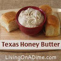 If you love Texas Roadhouse Honey Butter you will love this light and fluffy honey butter that goes with with any dinner roll. It's our family's favorite! Looking for an easy and inexpensive spread for your toast or dinners rolls? You can make this Texas Roadhouse Honey Butter in less than 5 minutes for less than 50 cents. Click here to get this yummy recipe http://www.livingonadime.com/texas-road-house-honey-butter/