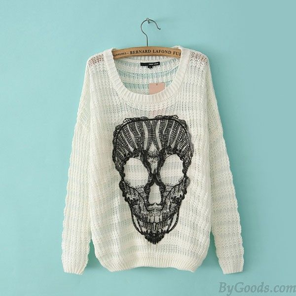 Fashion Casual Lace Skull Loose O-neck Batwing Sleeve Mixed Color Sweater only $24.99 in ByGoods.com!