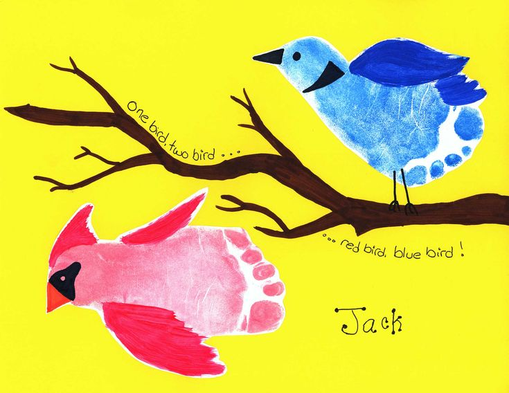 footprint birds Great art and craft kits for children http://gillsonlinegems.blogspot.com