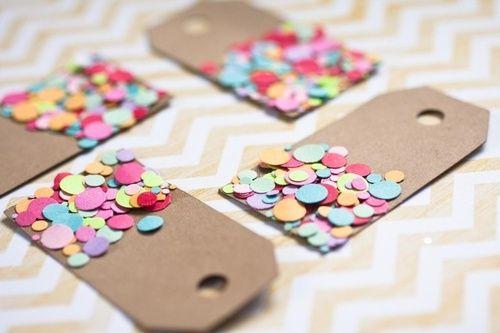 Kraft Confetti Tags - Gift Tags - Kraft Luggage tags, Set of 10