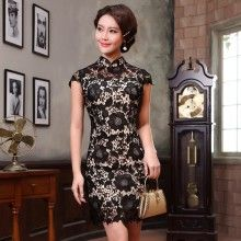 Breathtaking Black Lace Modern Short Cheongsam