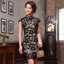 Breathtaking Black Lace Modern Short Cheongsam