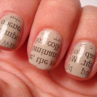 Newsprint: Nails Art Tutorials, Nude Nails, Beautiful Nails, Rubbed Alcohol, Pastel Colors, Nails Polish, Newsprint Nails, Prints Nails, Newspaper Nails