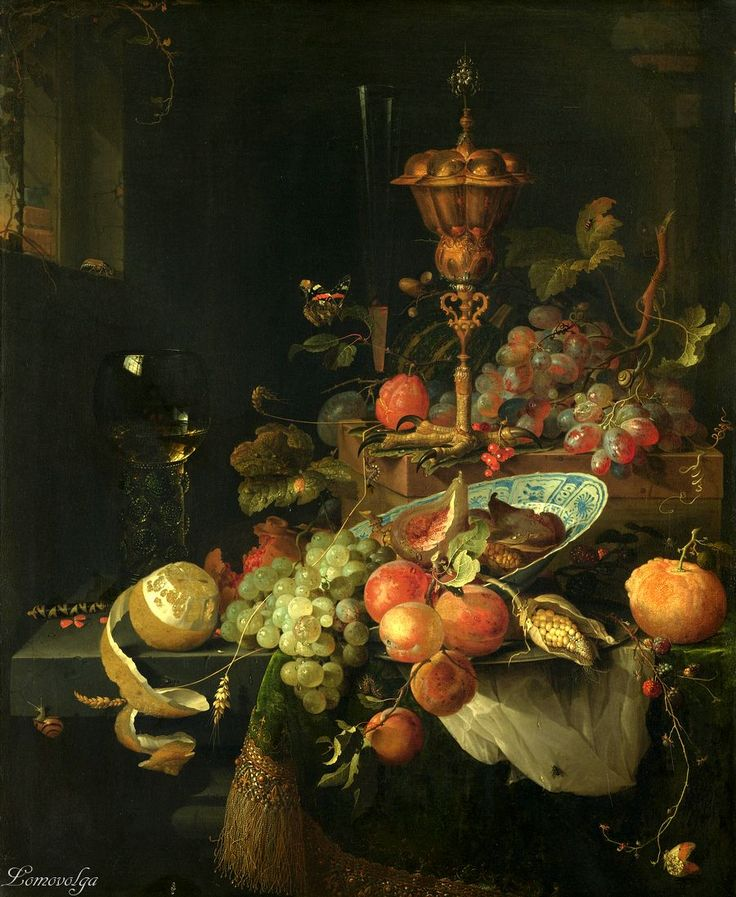 Abraham Mignon, 1660 - 1679 Натюрморт с фруктами, чашкой  и ногой петуха (Still life with fruit and a cup of roosters leg) Rijksmuseum
