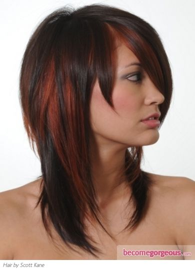 Brown Hair Frost Color Ideas | Stylish Brunette Hair with Red Highlights - Hair Highlights Ideas ...