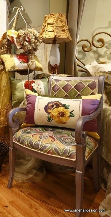Custom Made Hand Painted And Upholstered Arm Chair/ Italian Wood Frame