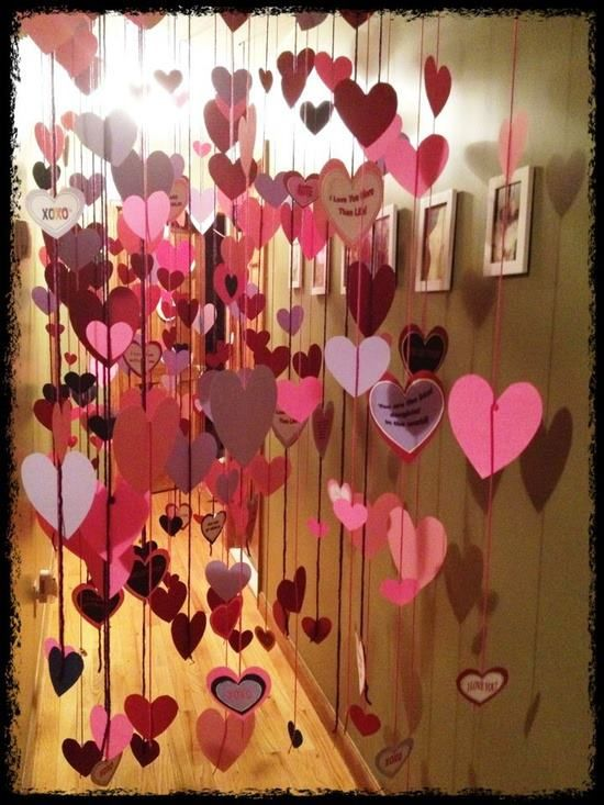 Valentines hanging hearts... could write sweet little notes on them =]