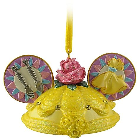 Ear Hat Belle Ornament....love this sooo much especially the little Mickey detail right on the front of the dress to add that extra disney touch