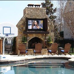Great outdoor combo of fire pit and tv, plus it's next to the pool for some leisurely tv watching while lying on a floaty