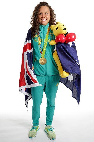 Women's Modern Pentathlon Gold medalist Chloe Esposito of Australia poses during a portrait session on August 21 2016 in Rio de Janeiro Brazil
