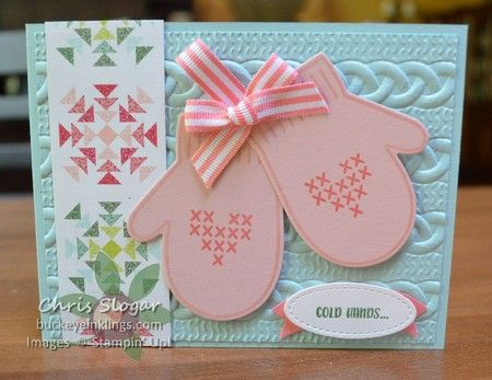 """I am smitten with this bundle! I just love the sweet two-step stamps that you can put together to build mittens in any colors. I coordinated with the Quilted Christmas designer paper to create this card in Pool Party and Blushing Bride. The greeting is from """"Cookie Cutter Christmas"""". Here's a look at the stamp sets I used... Of course, the mitten framelits are awesome, too. Besides outlines, the framelits cut the intricate stitched pattern shown below. (Click here for prev..."""