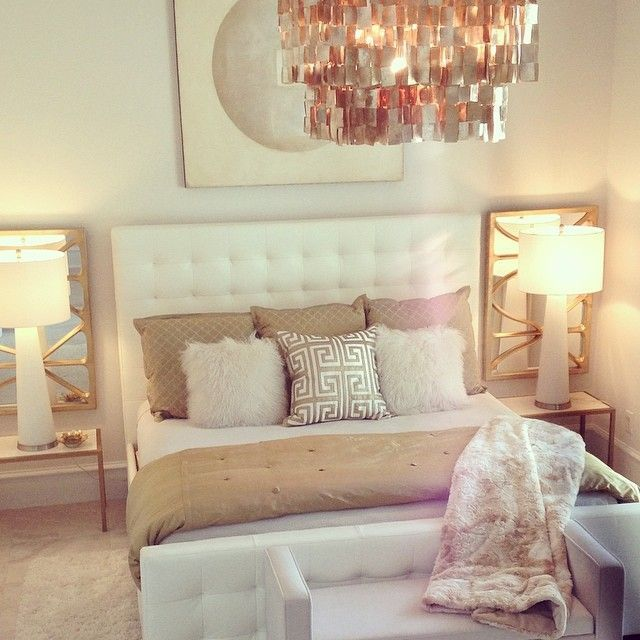 Get A Similar Look With Mirrors Behind Lamps And Reflective Chandelier Note Matching Tufted Headboard And Upholstered Sette In 2020 Home Gold Bedroom Home Bedroom