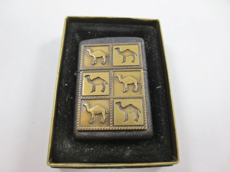 ZIPPO USA CAMEL Cigarette Lighter New Old Stock w Case GOLDTONE BLACK CAMELS