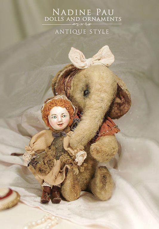 Купить Маленькая мисс Мери и её кукла Мими - nadine pau, антик, тортюр, слоник