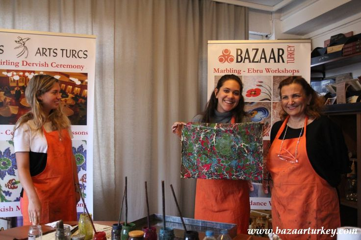 Art of Turkish Marbling - Classes are in Istanbul All Year Long..  Guests From USA  - April 2016