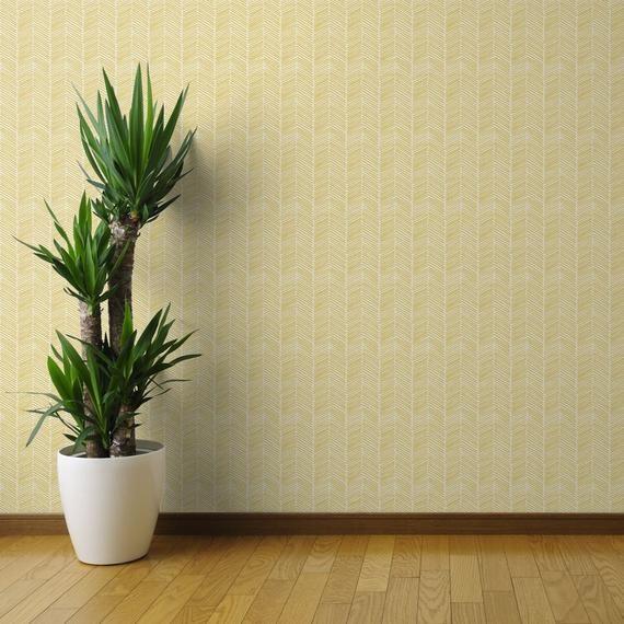 Yellow Chevron Wallpaper Freeform Arrows Large Yellow By Etsy Chevron Wallpaper Yellow Chevron Wallpaper