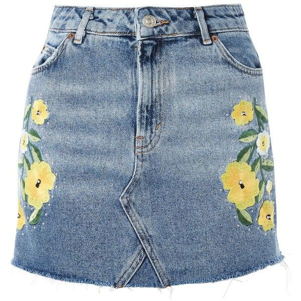 We have given the denim mini a summer makeover with yellow daisy embroidery on the front panels and studding detail.  Pair with your crop tops for essential su…