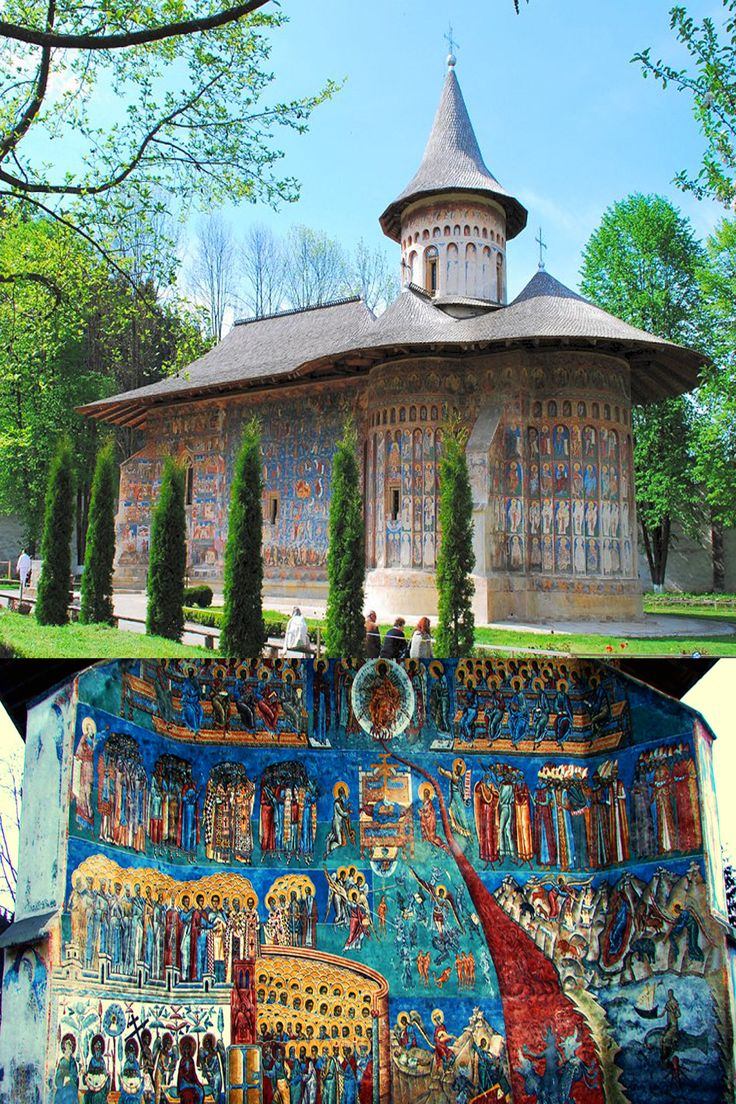 Voronet Monastery, Suceava - ROMANIA. Is one of the most striking examples of pure Moldavian style. The bright azure exists on the walls of the sanctuary since 1540. (wonderfulromania.ro/turistderomania.ro)